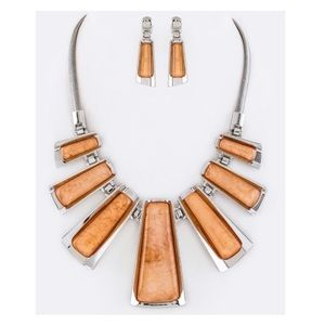 Peach silver metal wrapped resin necklace
